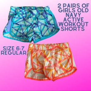 2 Pairs Girls Old Navy Active Shorts size 6-7